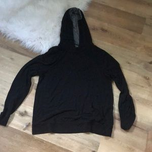 Black Hooded Long Sleeve Tee with Pocket